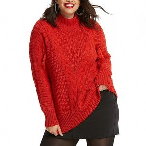 ASOS Red Fringe Chunky Mock Neck Sweater Cableknit